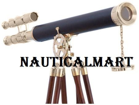 "NAUTICALMART Nautical Decor Floor Standing Brass/Leather Griffith Astro 64"" Telescope - with Free Gold Wire Basket"