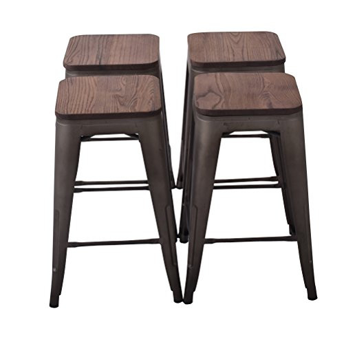 Bar Finish Bronze Stool Wood (Changjie Furniture 26'' High Backless Metal Bar Stool for Indoor-Outdoor Kitchen Counter Bar Stools Set of 4 (26 inch, Bronze with Wood seat))