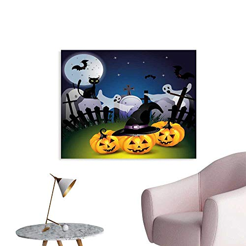 J Chief Sky Halloween Wallpaper Sticker Funny Cartoon Design with Pumpkins Witches Hat Ghosts Graveyard Full Moon Cat Decor Mural for Home W24 -