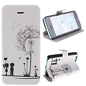 PEACH ships in 48 hours sold out Dandelion Pattern and Lovers PU Full Body Case with Card Slot and Stand for iPhone 5C