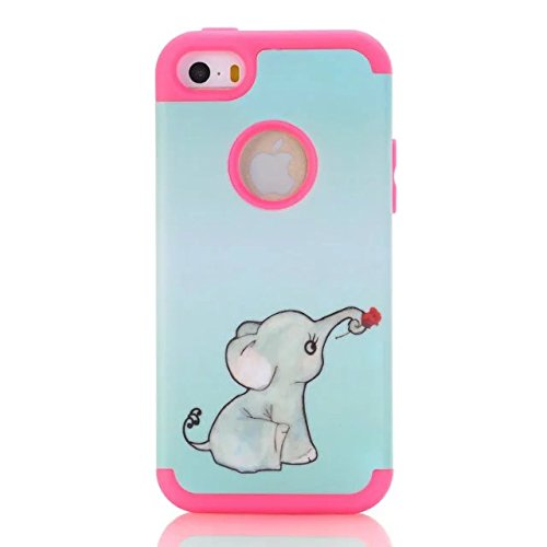 Ipod Touch 6 Case,Ipod Touch 5 Case,Lantier 3 in 1 Heavy Duty Painting Green Background Elephant Design Slim Hybrid TUFF Impact Shockproof Silicone Cover for Apple Ipod Touch 5 6th Hot Pink