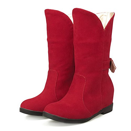 Boots Kitten On Women's AmoonyFashion Red Frosted Heels Solid Mid Top Pull 4ByqTypc1