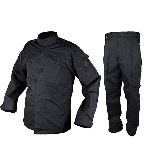 Outdoor Woodland Hunting Shooting Shirt Battle Dress Uniform Tactical BDU Set Combat Clothing Camouflage US Uniform - Black - L