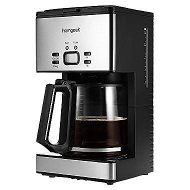 Homgeek 1.8L Coffee Maker Programmable Coffeemaker Machine 15 Cups with Coffee Carafe & Measuring Scoop