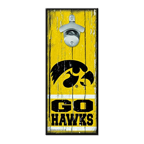 (University of Iowa Wooden Wall Mounted Bottle Opener)