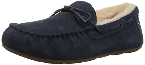 206 Collective Women's Pearson Shearling Moccasin Slipper, Navy Suede, 8 B US