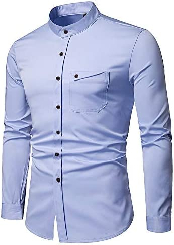 Solid Colored Shirt Collar IYFBXl Mens Asian Size Slim Shirt