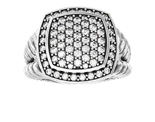 Ring Yurman David Diamond - Gempara Designer Inspired Face, 11 x 11mm VS1/G Simulated 1.13ctw Diamonds Albion Ring Size 7 (10) (8)