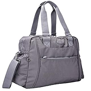 Nylon Travel Tote Cross-body Carry On Bag with shoulder strap (Grey)
