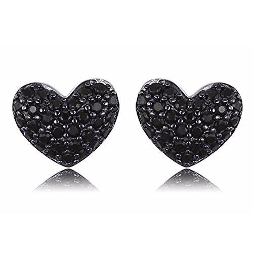 Splendorous Heart Shaped 4.55Ct Natural Black Spinel 925 Sterling Silver Stud Earrings (Heart Spinel)