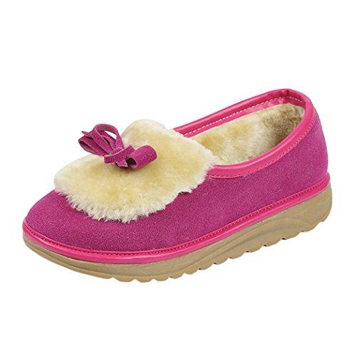 Botas Zapatos Zapatos e Botas de Piel Sky Otoño de Invierno Terciopelo Bowknot de cachemira y Nieve 38 de de Botas Rosado Mujeres Para con TwpqpRF