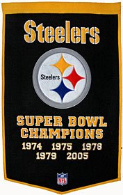 """Pittsburgh Steelers 24""""x36"""" Wool Dynasty Banner - NFL Flags/Banners"""