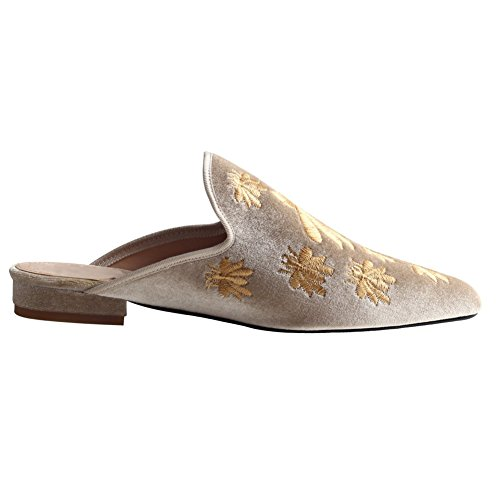Nedal Donna Casual In Velluto Mule Slip On Mocassini Beigebee