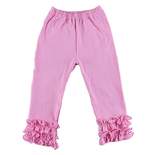 Price comparison product image Birdfly Little Girls Ruched Ruffles Leggings Solid Pants Solid Trousers Slacks (6T, Pink)