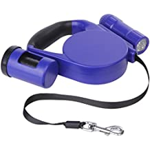 Dog Retractable Leash Large Heavy-Duty(With 9 LED Light and Disposable Waste Bags)- 15 feet (44 lb)- Best Dog Leash for Small, Medium, Large Strong Dogs-Ideal for Walking, Training, and Jogging.Blue