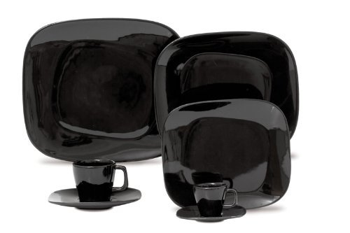 Karim Rashid Dinnerware Porcelain 20-Piece Dinner/Espresso Set, Black