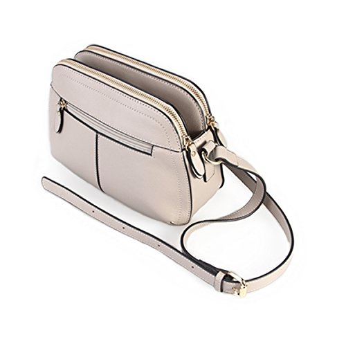 ZAPP- 'Thrice' bolso de cuero repujado (color: gris)
