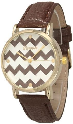 Women's Geneva Chevron Style Leather Watch - Brown (Coffee) (Brown Leather Geneva Watch)