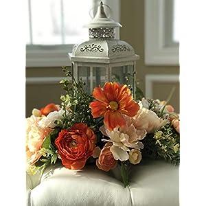 Hurricane Vase Centerpiece, Floral Candle Ring, Home Deco, Table Deco, Wedding Deco, Lantern Floral Wreath 3