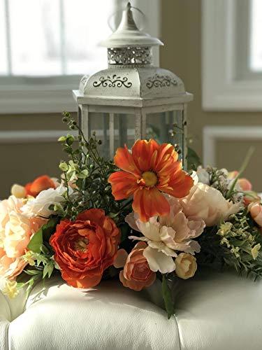 Hurricane Vase Centerpiece, Floral Candle Ring, Home Deco, Table Deco, Wedding Deco, Lantern Floral Wreath
