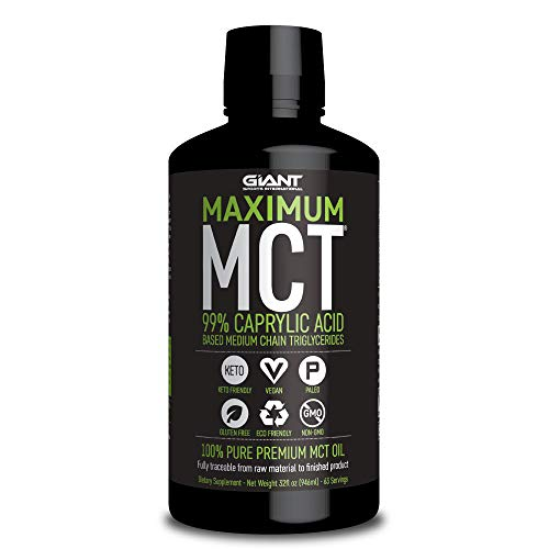 Giant Sports Maximum MCT Oil, 99% C-8 Caprylic Acid Medium Chain Triglycerides for Focus and Energy on Ketogenic and Paleo Diet - 32 Fl oz
