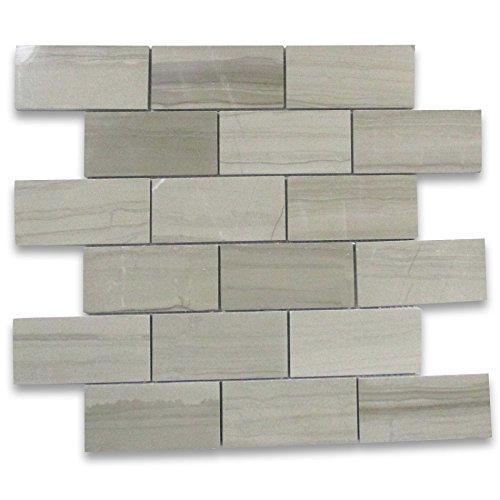 Athens Grey Wood Grain Marble Subway Brick Mosaic Tile 2 x 4 Polished