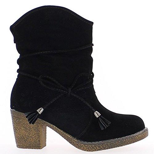 Las mujeres negras botas de tacón de 7cm