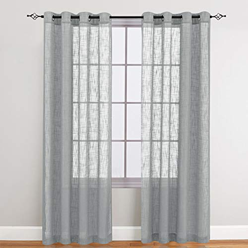 Linen Textured Sheer Curtains for Living Room, Open Weave Sheer Voile Curtains, Grommet Top Curtain Panels, One Pair, 52