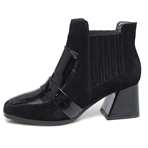 Square Handmade Two Boot Ankle Heel Women's Nine Black Leather Specail Block Tone Seven Toe Style Suede WwpwBqnfF