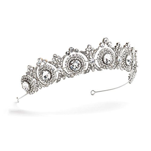 USABride Wedding Tiara Bridal Crown Vintage Antique Silver-Plated Rhinestone Headpiece 3286 by !iT Jeans (Image #2)