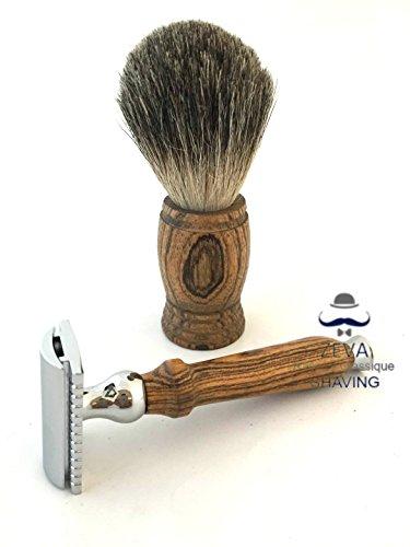 Men-Shaving-Set-Badger-hair-wooden-handle-Complete-men-grooming-kit-DE-safety-razor