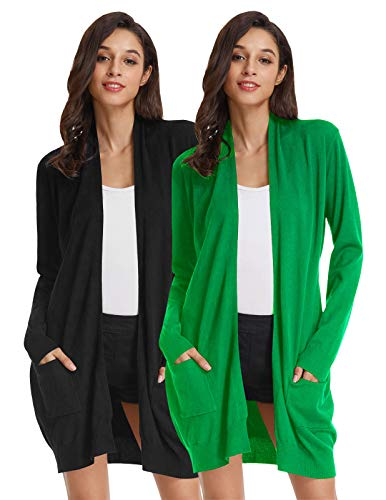 Solid Rib Knit Collar - GRACE KARIN Essential Solid Open Front Long Knited Cardigan Sweater for Women(S,2 Pack Black Apple Green)