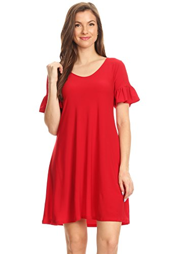 Womens Red Dress with Short Tulip Sleeves Regular and Plus Size Casual Cute Summer Spring Dress (Size Large us 10-12, Red Short ()