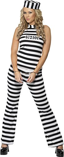 Smiffy's Women's Convict Cutie Costume, Top, pants and Hat, Cops and Robbers, Serious Fun, Size 10-12, 33723