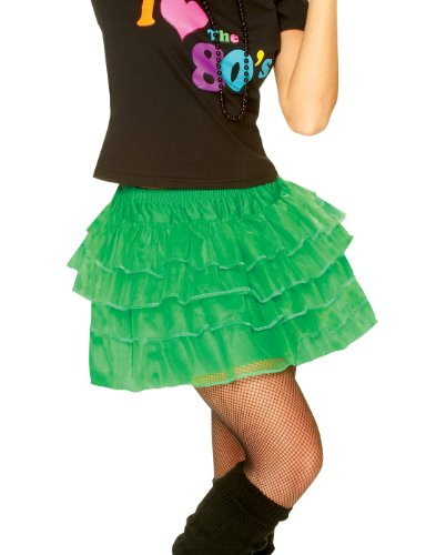 80's Petticoat Skirt NewWave Madonna Party Girl Green Womens Halloween Costume