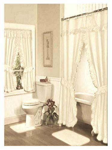 Home Fashions Ivory Double Swag Shower and Window Curtain Set with -