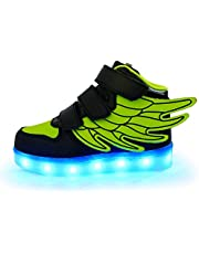 ANEMEL Wings Children's 7 Colors LED Shoes Flashing Rechargeable Sneakers Dance Shoes for Kids Toddler