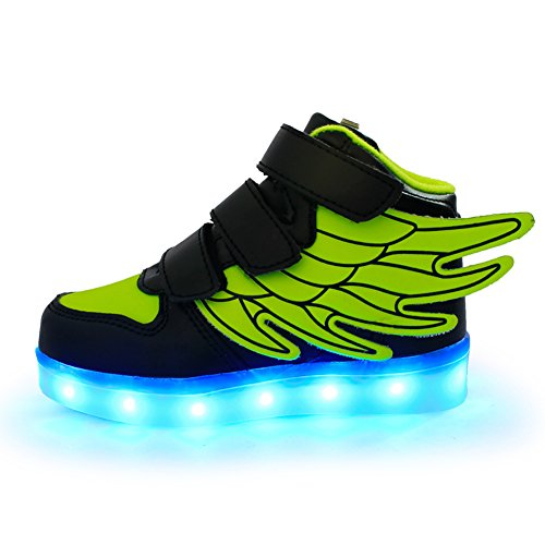 ANEMEL Wings Children's 7 Colors LED Shoes Flashing Rechargeable Sneakers Dance Shoes for Kids Toddler-Green + Black/US Little Kids 13.5M/EUR -