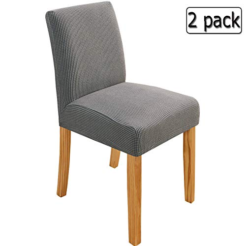 Deisy Dee Stretch Chair Cover Slipcovers for Counter Height Chairs, Bar Stool Chair Covers Pack of 2 C179 (Light Grey)