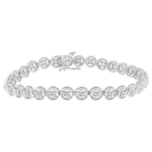 Diamond Circle Link Bracelet - Original Classics Sterling Silver Diamond Circle Link Bracelet (0.10 cttw, I-J Color, I2-I3 Clarity)