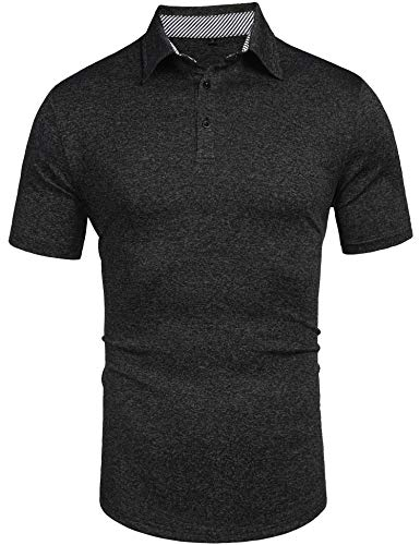 Daupanzees Men's Polo Shirts Fashion Solid Stylish Contrast Color Loose Relaxed Regular-Fit Short Sleeve TShirt Black