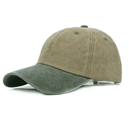 King Star Men Classic Vintage Baseball Cap Adjustable Washed Dyed Cotton Hat Khaki Army Green (Pigment Solid Twill Dyed Cap)