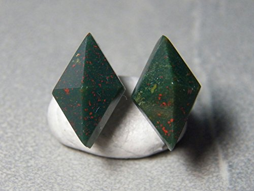 10x16mm Diamond Pyramid Bloodstone and Sterling Silver Post Earrings