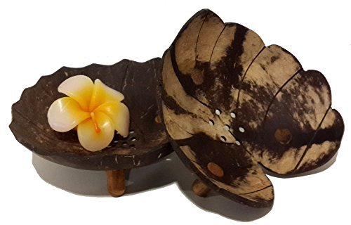Exotic Elegance Gift Set of 2 Lotus and Heart Leaf Form Decorative Coconut Wood Dish. by Exotic Chic Decor