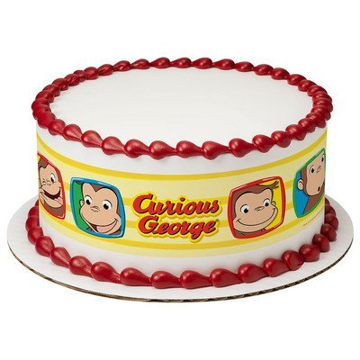 Curious George Cake Strips Licensed Edible Cake Topper #7505 Curious George Cake Decoration