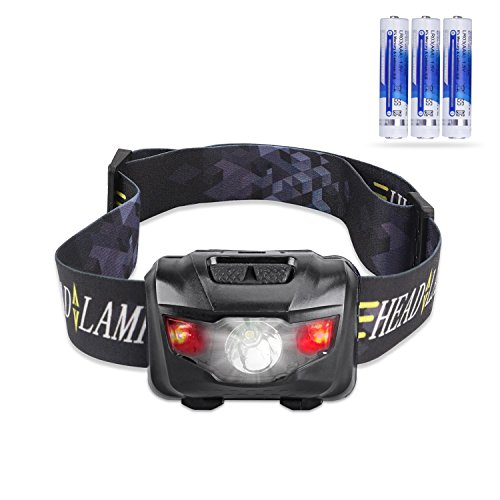 Cree Led Headlamp Flashlight With Red Lights  Waterproof Head Light For Running  Camping  Reading  Kids  Diy   More   3 Aaa Batteries Included Black  By Stct Street Cat