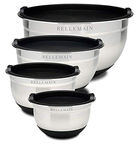 - Top Rated Bellemain Stainless Steel Non-Slip Mixing Bowls with Lids, 4 Piece Set Includes 1 Qt, 1.5 Qt, 3 Qt. & 5 Qt.