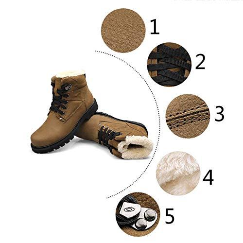 vera Lijun caviglia 47 qualità 38 marrone Outdoor lavoro autunno Boots taglia in Man scarpe Martin impermeabile alta uomo pelle inverno vqUvRr