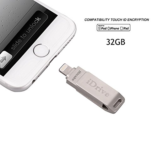 Price comparison product image iPhone Flash Drive 32GB, Hitcake Touch ID Encryption Memory Expansion USB OTG High Transfer Speed External Storage for iPad iPod MacBook Laptop IOS Divice Sliver …