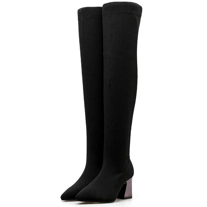 Botas De Mujer Elasticas Tacon Cuadrado Zapatos Botas Altas Sobre La Rodilla Medio Talon Botin: Amazon.es: Ropa y accesorios